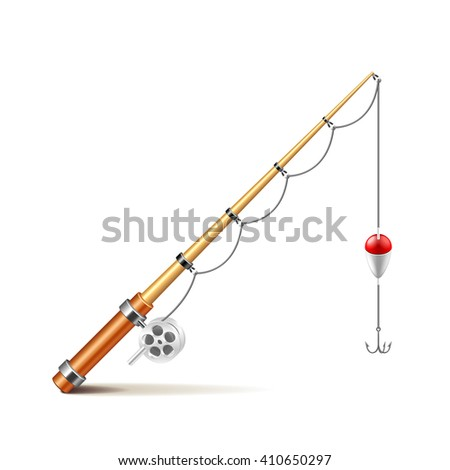 Fishing rod isolated on white photo-realistic vector illustration - stock vector