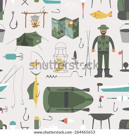 Fishing seamless pattern. Fishing design elements. Vector illustration - stock vector