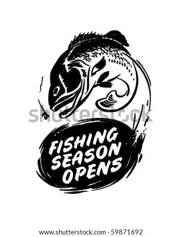 Fishing Season Opens - Header - Retro Clip Art - stock vector