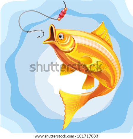fishing the gold fish hunting worm - vector illustration - stock vector