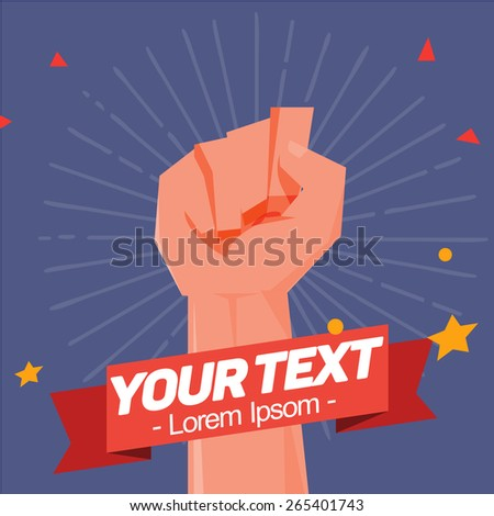 fist hand held high in protest with sun ray background and ribbon to replace your text - vector illustration - stock vector