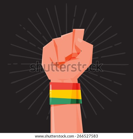 fist hand held high with Rasta style Bracelets. wristband. financial concept - vector illustration - stock vector