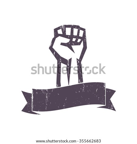fist held high in protest with ribbon, grunge design template, vector illustration - stock vector