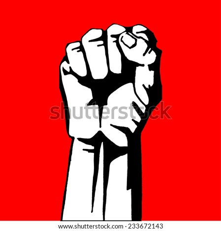 fist revolution on a red background - stock vector