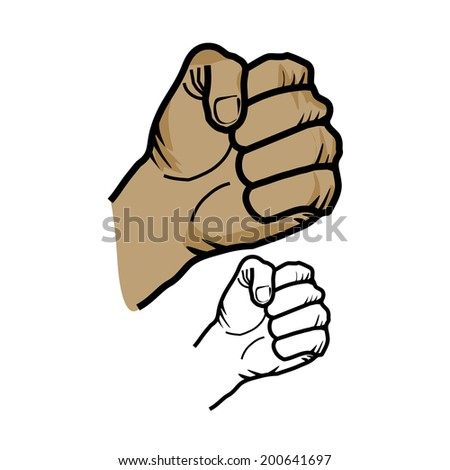 Fist sketch - stock vector