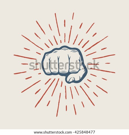 Fist with sunbursts in vintage style. Graphic art. Vector illustration  - stock vector