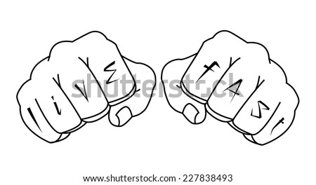 Fists with live fast fingers tattoo. Man hands outlines vector illustration isolated on white  - stock vector