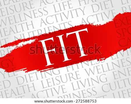 Fit word cloud, health concept - stock vector