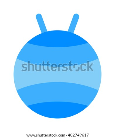Fitball or large sports rubber ball for fitness exercises healthy lifestyle flat vector illustration. Training fitball and sport fitness fitball. Active healthy workout aerobics fitball equipment. - stock vector