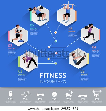 Fitness aerobic and muscle strength development program hexagon pictograms  infographic presentation layout design abstract isolated vector illustration - stock vector