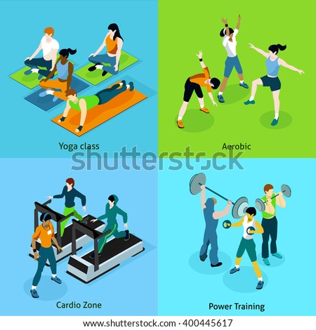 Fitness aerobic isometric icons set with description women on yoga class aerobic cardio zone and mans on power training vector illustration - stock vector