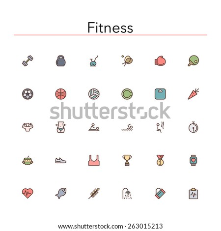 Fitness and a healthy lifestyle colored line icons set. Vector illustration. - stock vector