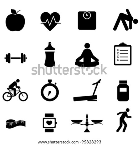 Fitness and diet icon set in black - stock vector