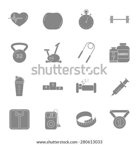 Fitness and gym silhouettes icons set vector graphic design - stock vector