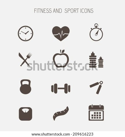 Fitness and health icons - stock vector