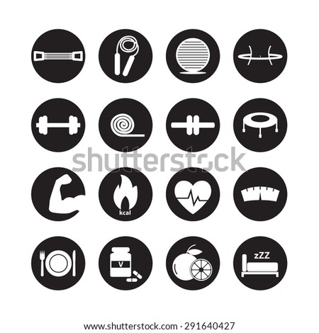 Fitness and Health icons, healthy set - stock vector