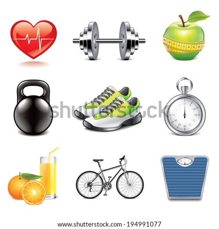 Fitness and health icons high detailed vector set - stock vector