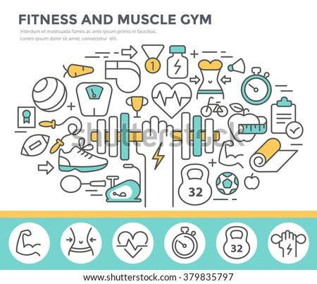 Fitness and muscle gym concept illustration, thin line flat design - stock vector