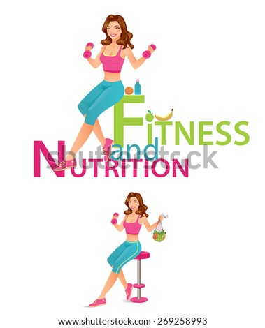 Fitness and Nutrition - Beautiful fitness instructor holding dumbbell and fruits - stock vector
