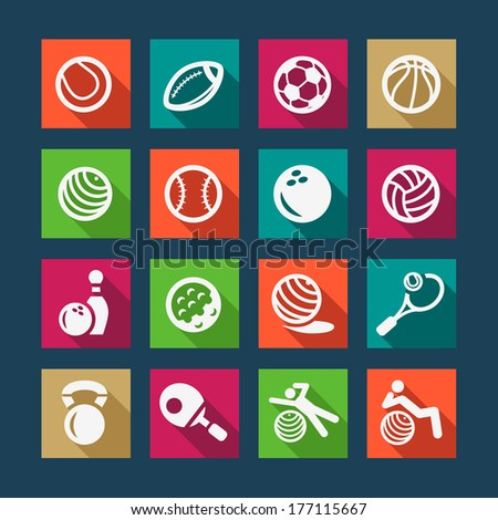 Fitness and Sport Flat Icons for web and mobile. - stock vector