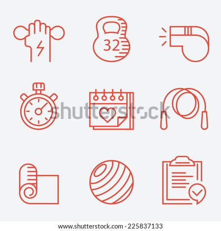 Fitness and sport icons, thin line style, modern flat design - stock vector