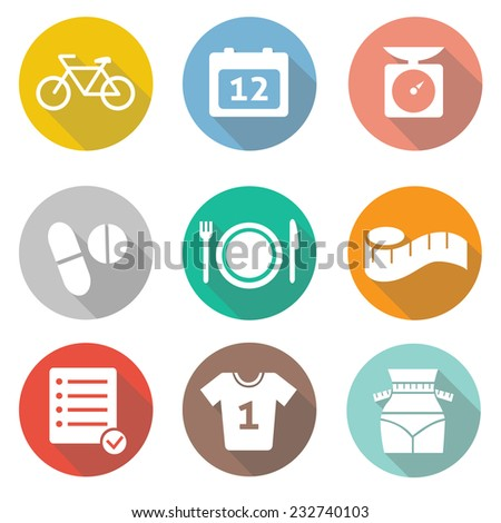 Fitness and Sport vector icons for web and mobile.   - stock vector