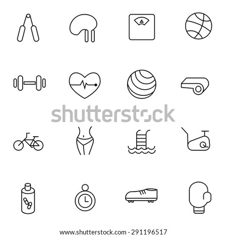 Fitness and Sport vector icons for web and mobile - stock vector