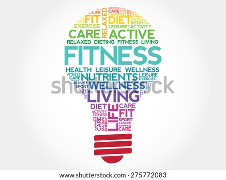 Fitness bulb word cloud, health concept - stock vector