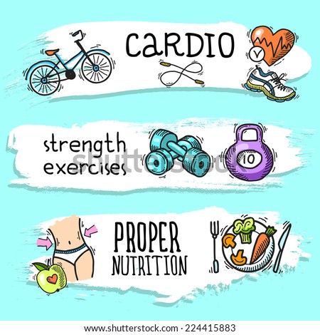 Fitness cardio strength exercises proper nutrition colored sketch horizontal banner set isolated vector illustration - stock vector