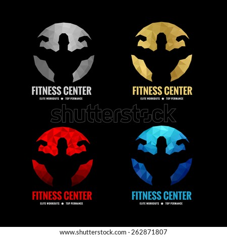 Fitness center logo low poly  4 color is silver gold red and blue (Vocal muscle men)  - stock vector