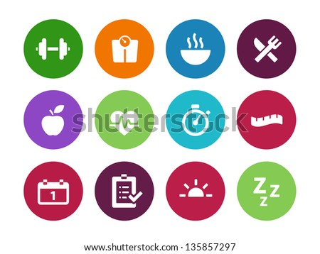 Fitness circle icons on white background. Vector illustration. - stock vector