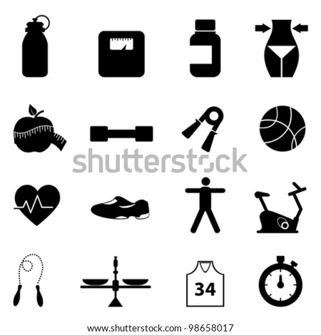 Fitness, diet and healthy lifestyle icon set - stock vector