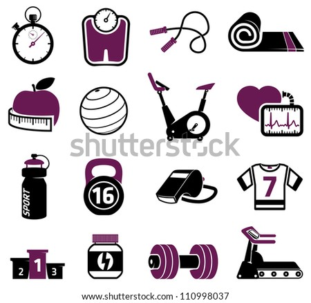 Fitness equipment collection - stock vector