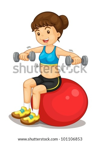 Fitness girl exercising with weights - stock vector