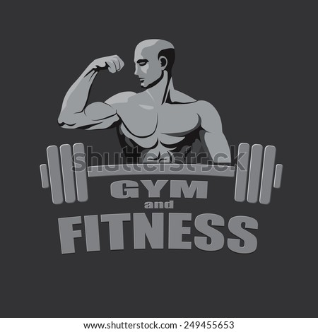 Fitness gym logo mock up bodybuilder showing biceps grey background. - stock vector