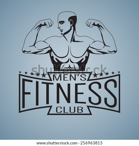 Fitness gym logo mock up bodybuilder showing biceps outlined text Men's fitness club - stock vector