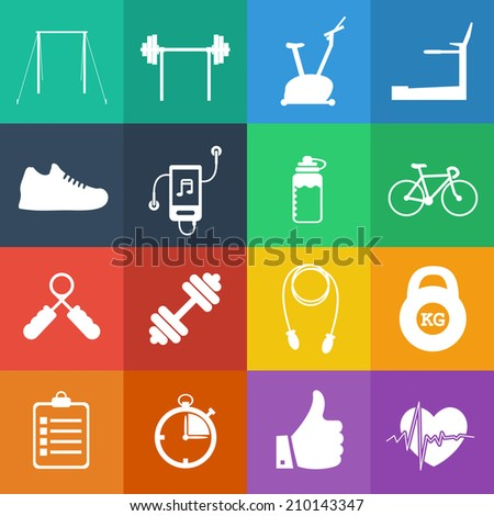 fitness icon in flat design - stock vector