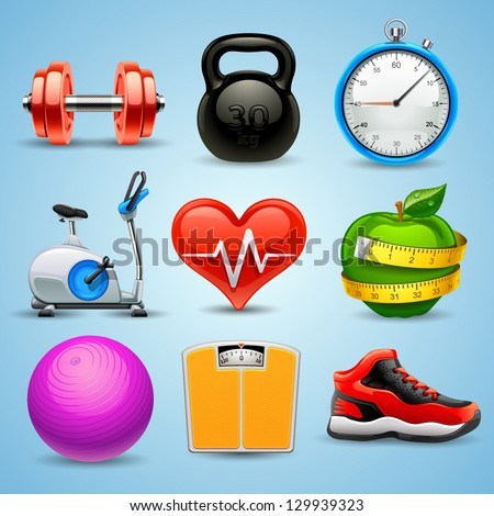 fitness icon set - stock vector