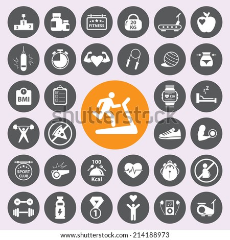 Fitness icon set.Vector/EPS10. - stock vector