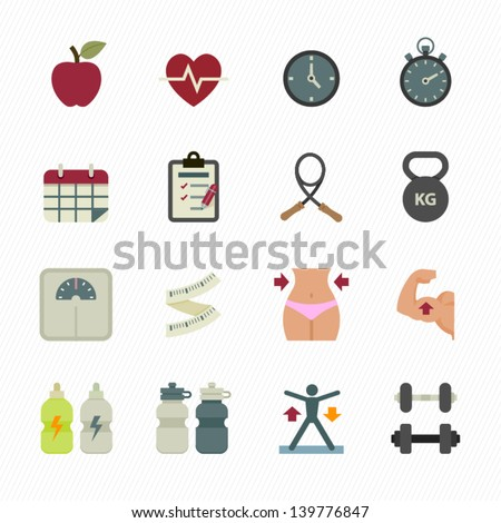 Fitness Icons and Health Icons with White Background - stock vector