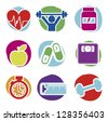 fitness icons isolated over white background. vector illustration - stock vector