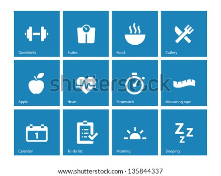 Fitness icons on blue background. Vector illustration. - stock vector