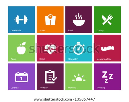 Fitness icons on color background. Vector illustration. - stock vector