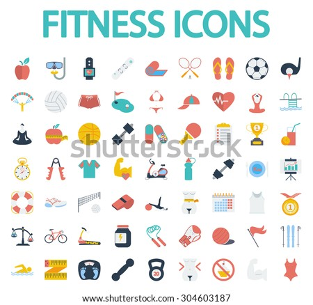 Fitness icons set. Flat vector related icon set for web and mobile applications. It can be used as - logo, pictogram, icon, infographic element. Vector Illustration.  - stock vector