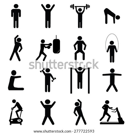 Fitness icons set illustration - stock vector