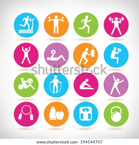 fitness icons set, physical exercises buttons - stock vector