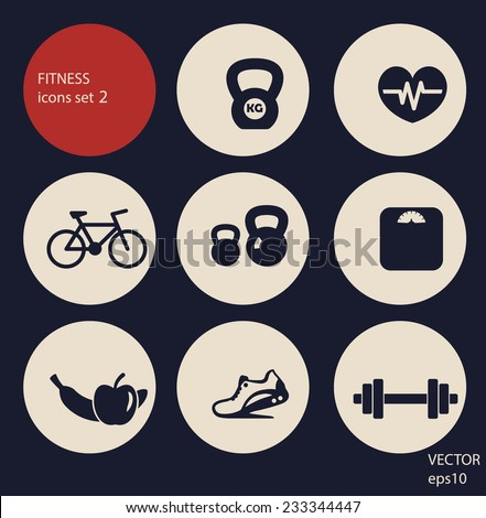 fitness icons set 2 vector illustration, eps10, easy to edit - stock vector