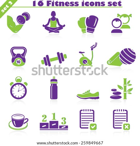 Fitness icons set, vector set of 16 fitness signs. - stock vector