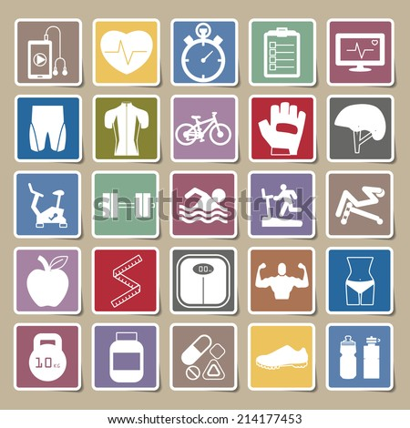 Fitness Icons Sticker set - stock vector