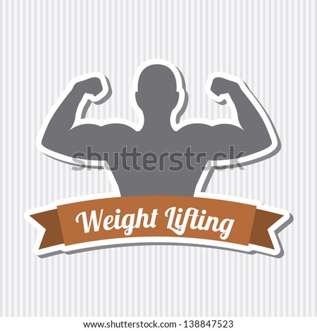 fitness label over gray background. vector illustration - stock vector